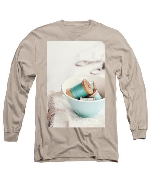 Bowl Of Vintage Spools Of Thread Long Sleeve T-Shirt