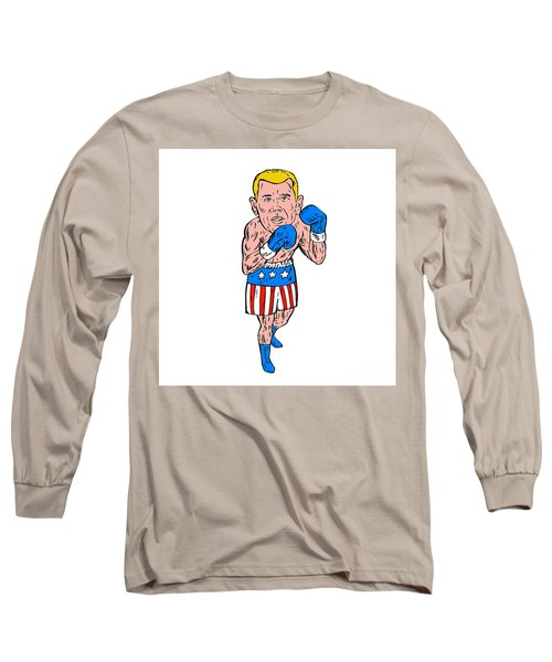 Boxer Pose Usa Flag Etching Long Sleeve T-Shirt