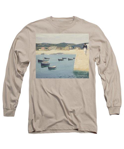 Boy Reading On A Harbour's Edge  Long Sleeve T-Shirt