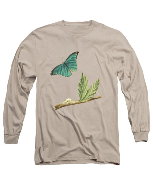 Branch Of A Medlar Tree With Caterpillar And Butterfly By Cornelis Markee 1763 Long Sleeve T-Shirt
