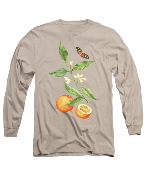 Branch With Blossoming Orange Blossom, Oranges And Butterfly By Cornelis Markee 1763 Long Sleeve T-Shirt