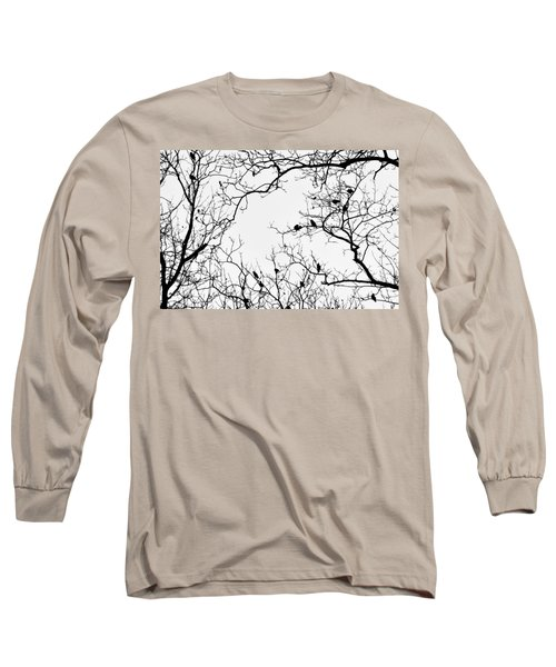 Branches And Birds Long Sleeve T-Shirt by Sandy Taylor