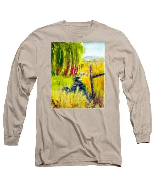 Bridge Over Small Stream Long Sleeve T-Shirt by Sherril Porter
