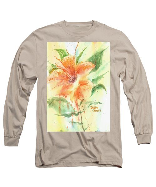 Bright Orange Flower Long Sleeve T-Shirt by Debbie Lewis