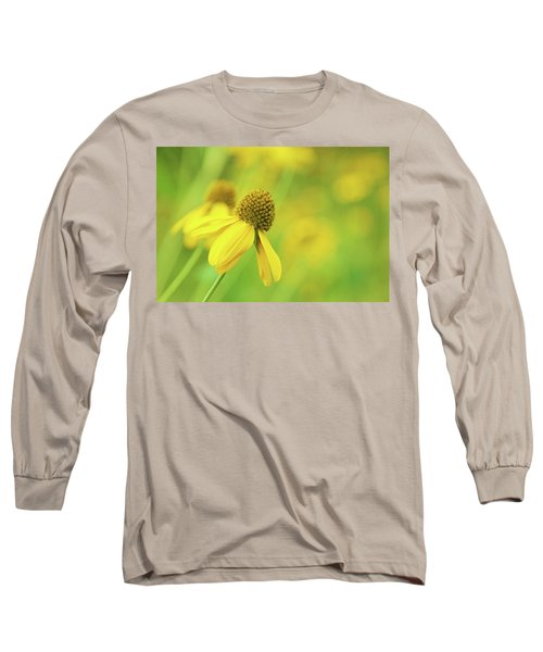 Bright Yellow Flower Long Sleeve T-Shirt by David Stasiak