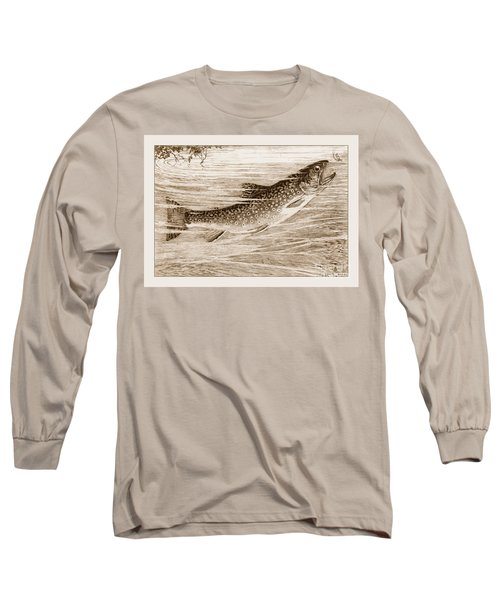Long Sleeve T-Shirt featuring the photograph Brook Trout Going After A Fly by John Stephens