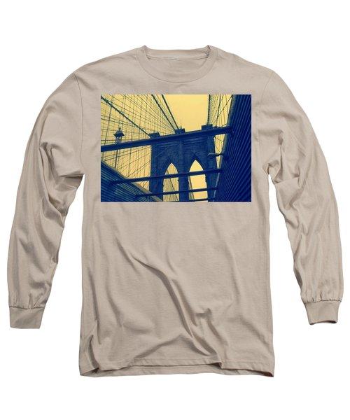 New York City's Famous Brooklyn Bridge Long Sleeve T-Shirt by Paulo Guimaraes