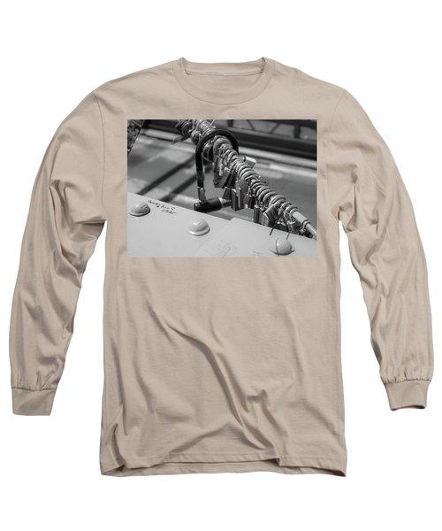 Brooklyn Bridge Love Locks In New York, New York Long Sleeve T-Shirt