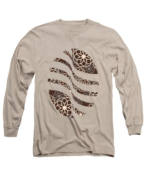 Brown And Silver Floral Pattern Long Sleeve T-Shirt
