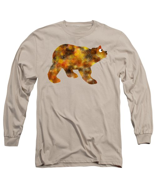 Long Sleeve T-Shirt featuring the mixed media Brown Bear Silhouette by Christina Rollo