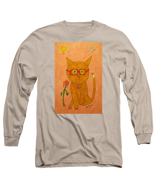 Brown Cat With Glasses Long Sleeve T-Shirt