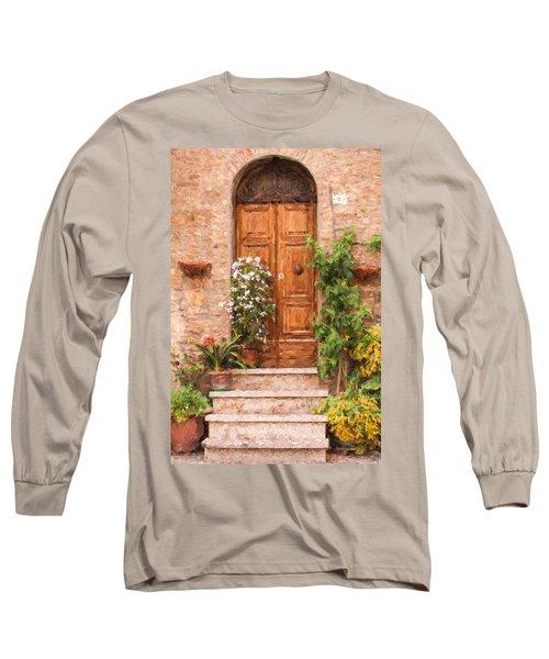 Brown Door Of Tuscany Long Sleeve T-Shirt