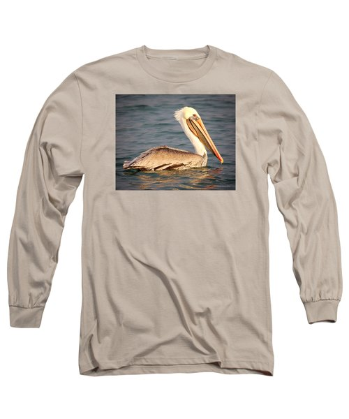 Brown Pelican Floating Long Sleeve T-Shirt