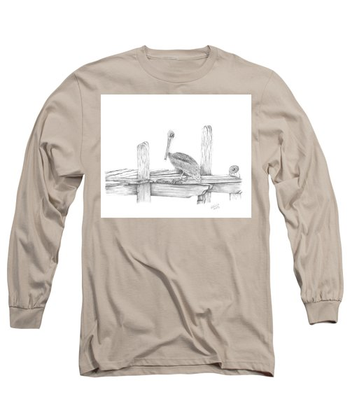 Long Sleeve T-Shirt featuring the drawing Brown Pelican by Patricia Hiltz