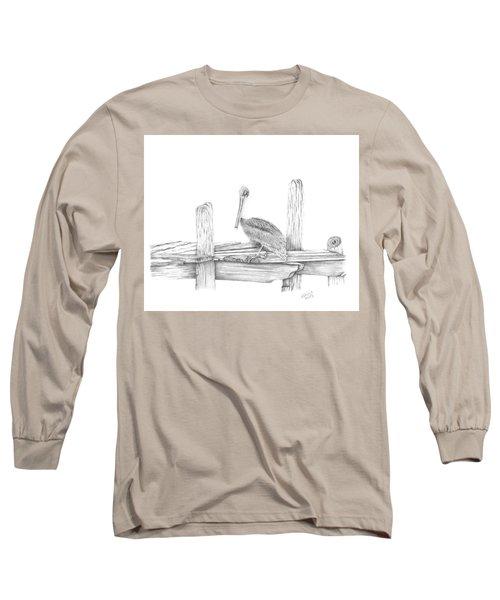 Brown Pelican Long Sleeve T-Shirt by Patricia Hiltz
