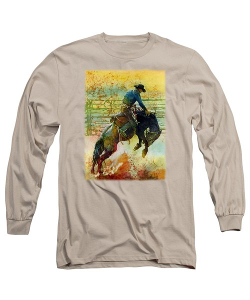 Long Sleeve T-Shirt featuring the painting Bucking Rhythm by Hailey E Herrera