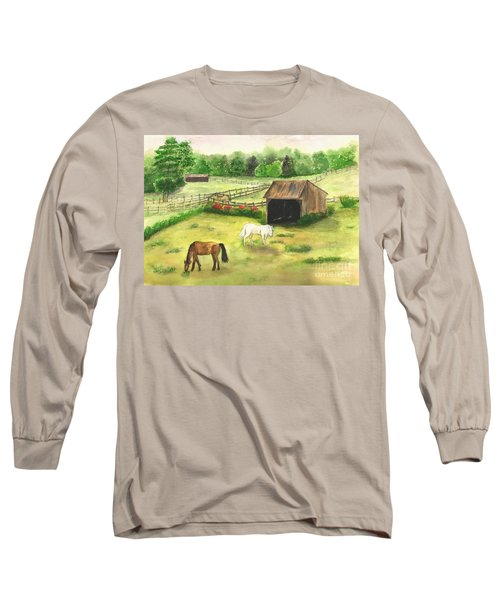 Long Sleeve T-Shirt featuring the painting Bucks County Horse Farm by Lucia Grilletto