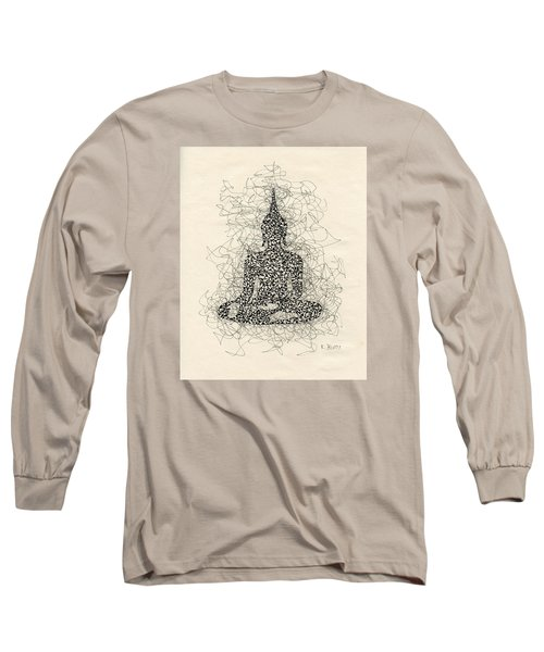 Buddha Pen And Ink Drawing Long Sleeve T-Shirt