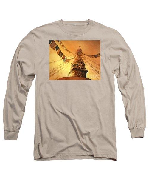 Buddhist Stupa- Nepal Long Sleeve T-Shirt