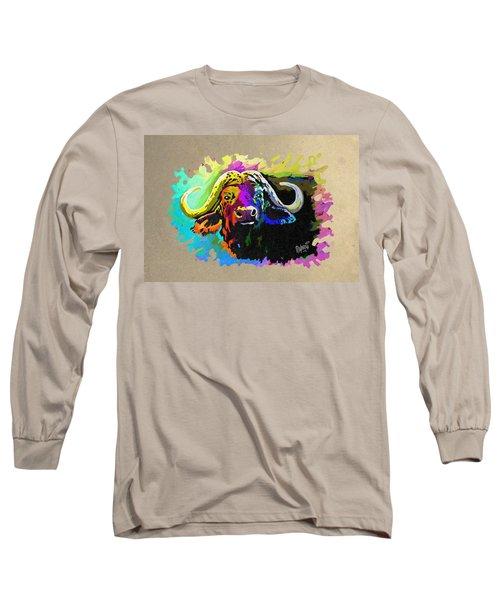 Long Sleeve T-Shirt featuring the painting Buffalo Boss by Anthony Mwangi