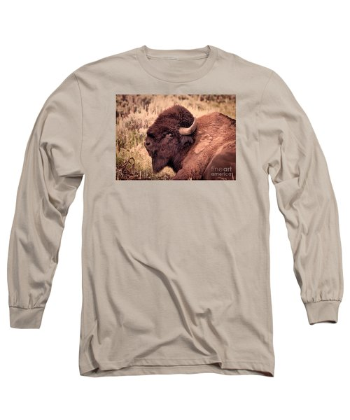 Long Sleeve T-Shirt featuring the photograph Buffalo Eye On You by Janice Rae Pariza