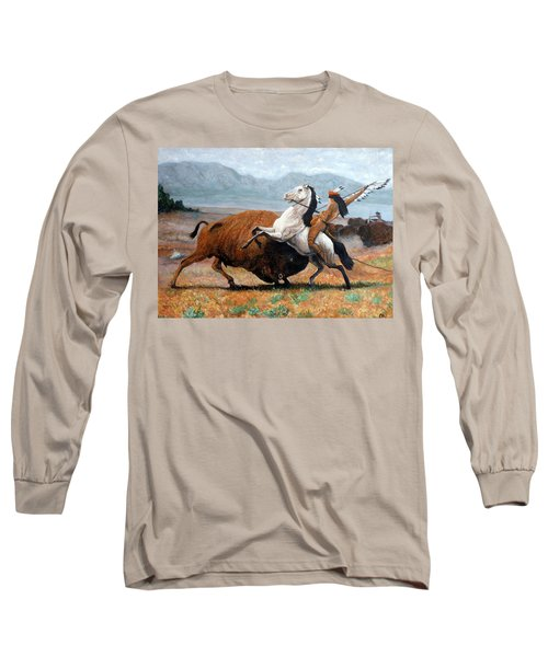 Long Sleeve T-Shirt featuring the painting Buffalo Hunt by Tom Roderick