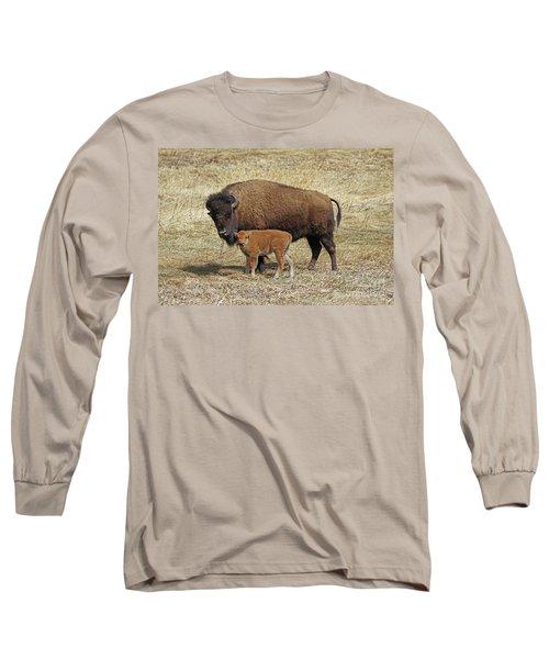 Buffalo With Newborn Calf Long Sleeve T-Shirt