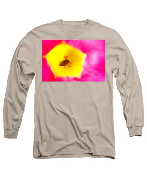 Long Sleeve T-Shirt featuring the photograph Bug In Pink And Yellow Flower  by Ben and Raisa Gertsberg