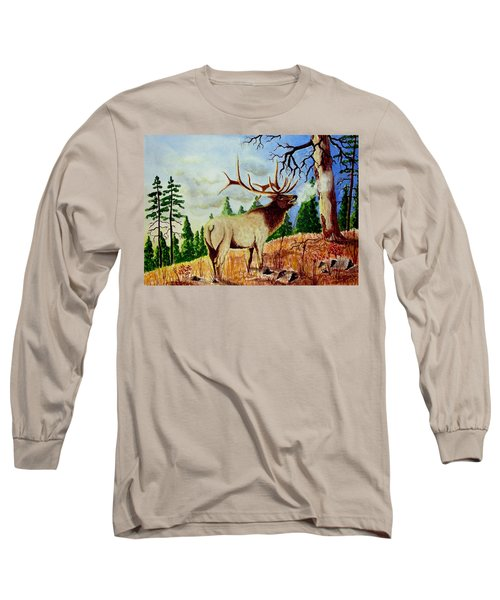 Bugling Elk Long Sleeve T-Shirt by Jimmy Smith