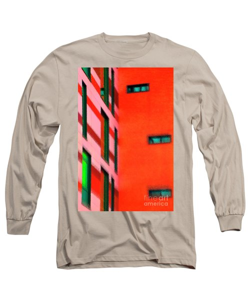 Long Sleeve T-Shirt featuring the digital art Building Block - Red by Wendy Wilton