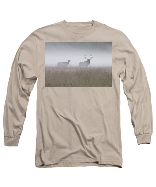 Bull And Cow Elk In Fog - September 30 2016 Long Sleeve T-Shirt