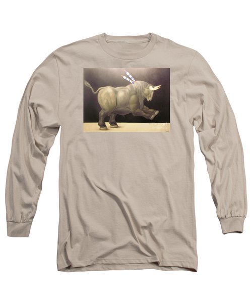 bull painting Botero Long Sleeve T-Shirt by Ted Pollard