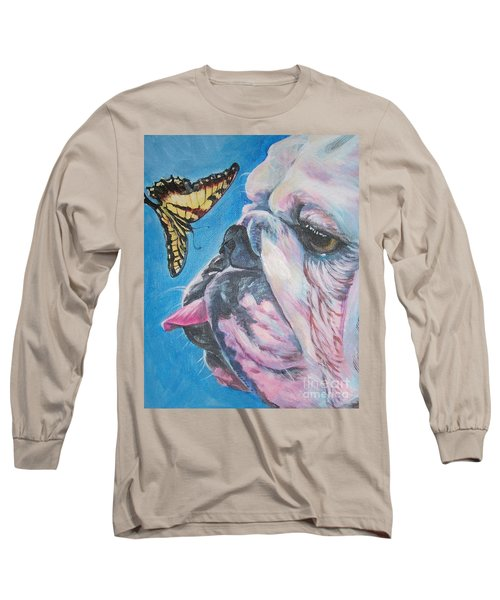 Bulldog And Butterfly Long Sleeve T-Shirt by Lee Ann Shepard