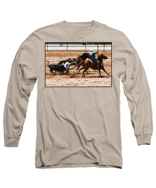 Long Sleeve T-Shirt featuring the photograph Bulldogging by John Freidenberg