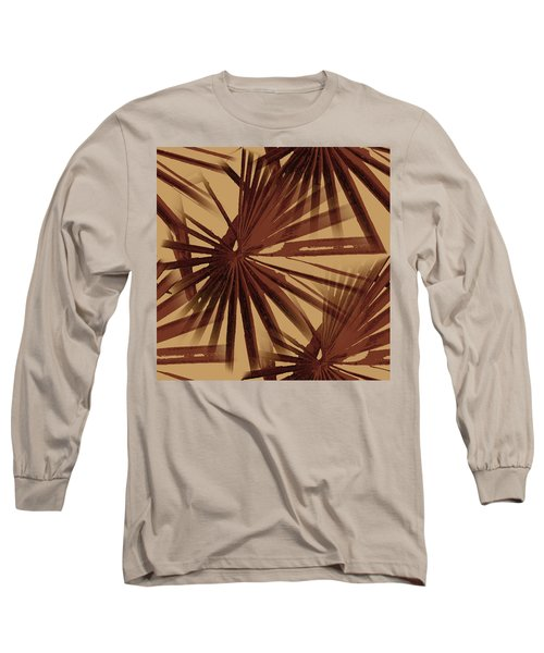 Burgundy And Coffee Tropical Beach Palm Vector Long Sleeve T-Shirt