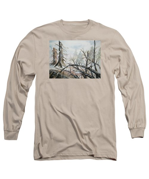 Long Sleeve T-Shirt featuring the painting Burned Forest In The Snow by Ellen Levinson