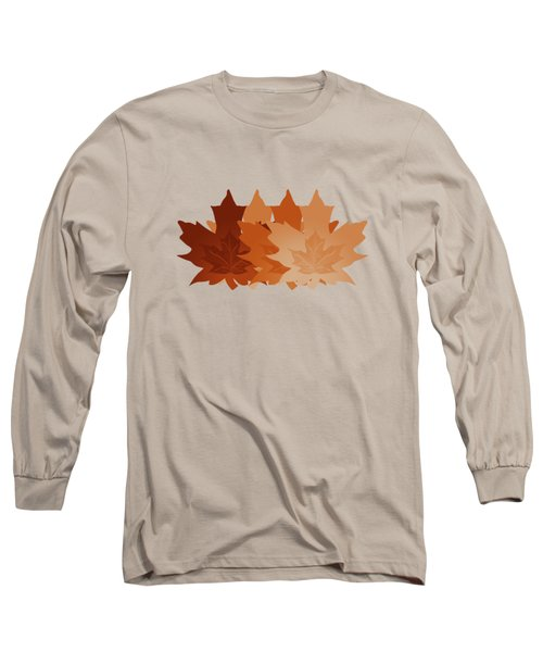Long Sleeve T-Shirt featuring the digital art Burnt Sienna Autumn Leaves by Methune Hively