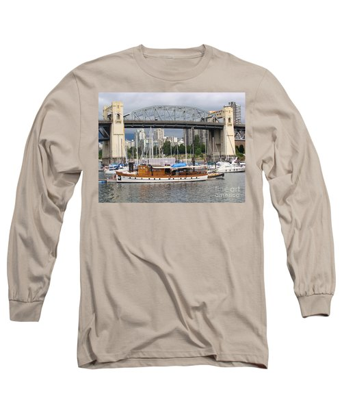 Long Sleeve T-Shirt featuring the painting Burrard Street Bridge, Vancouver by Rod Jellison
