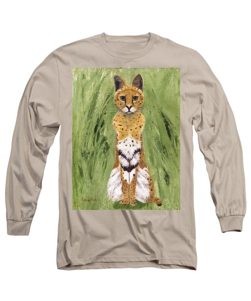 Long Sleeve T-Shirt featuring the painting Bush Cat by Jamie Frier