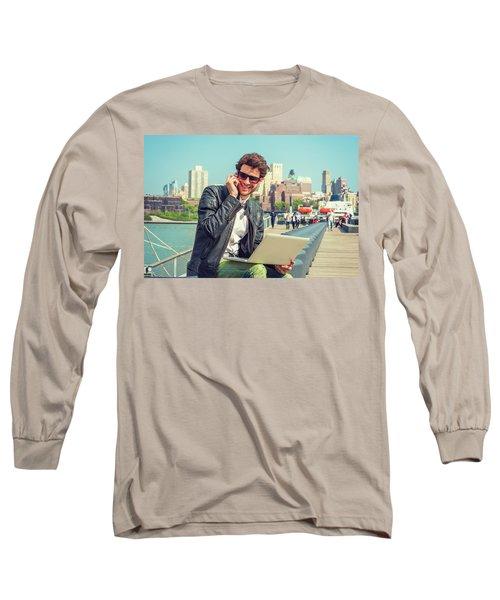 Businessman Enjoying Working Outside Long Sleeve T-Shirt