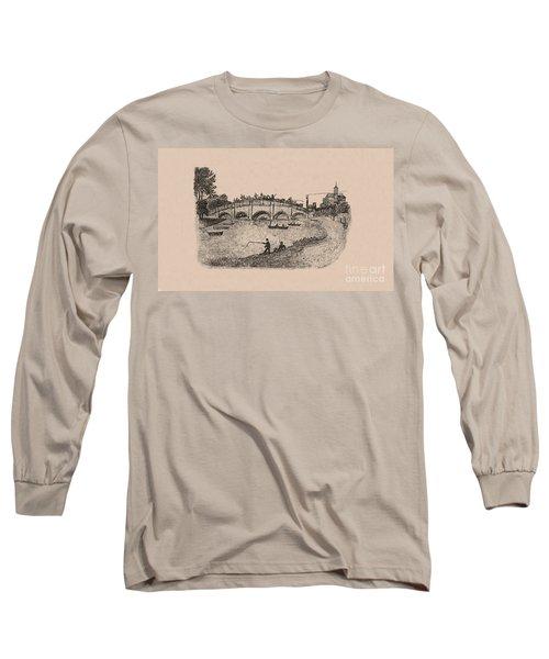 Busy Richmond Bridge And Fishermen Long Sleeve T-Shirt