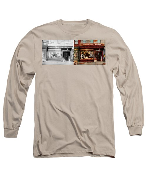 Long Sleeve T-Shirt featuring the photograph Butcher - Meat Priced Right 1916 - Side By Side by Mike Savad