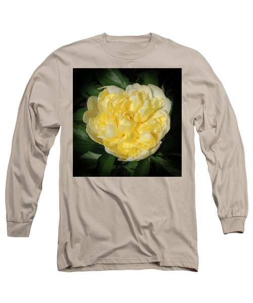 Buttercream Peony Long Sleeve T-Shirt by Teresa Schomig