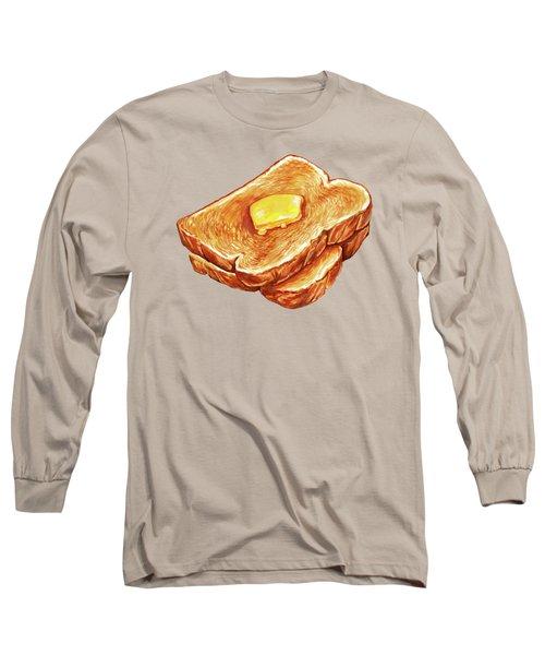 Buttered Toast Pattern Long Sleeve T-Shirt