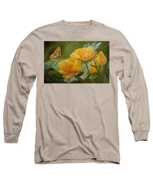 Butterfly Among Yellow Flowers Long Sleeve T-Shirt