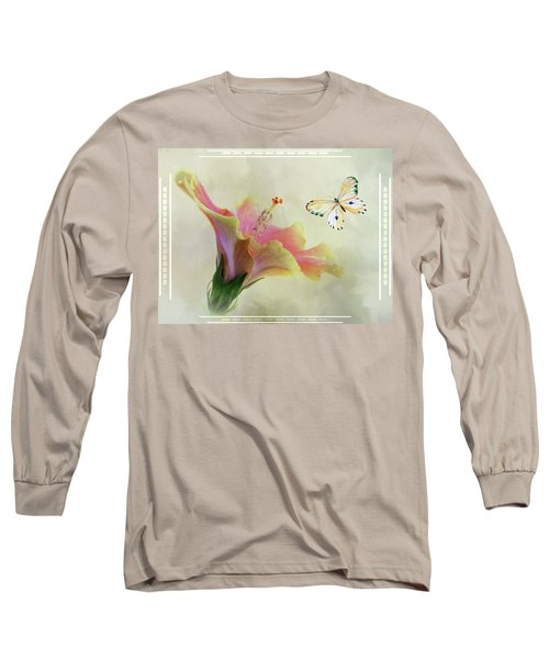 Butterfly And Fiesta Hibiscus Long Sleeve T-Shirt