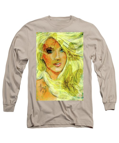 Long Sleeve T-Shirt featuring the painting Butterfly Blonde by P J Lewis