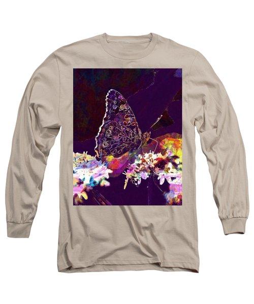 Long Sleeve T-Shirt featuring the digital art Butterfly Flower Summer Forage  by PixBreak Art