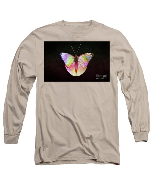 Butterfly In Retro  Long Sleeve T-Shirt by Manjot Singh Sachdeva