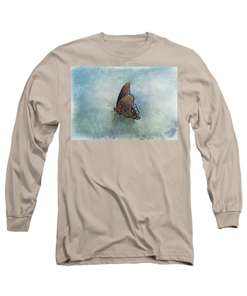 Long Sleeve T-Shirt featuring the photograph Butterfly On Blue by Sandy Keeton